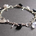Purple Goldstone, Bluelace Agate and Sterling Bracelet