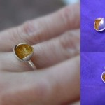 Sterling silver and gold leaf petal ring
