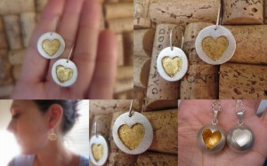 24ct gold leaf on sterling silver hearts.  24ct leaf heart globe pendant also available