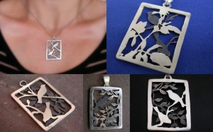 "Double-sided/two-way, ""Can't see the birds for the trees"" Pendants. Sterling, patina"