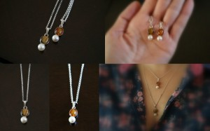 """Not Your Grandmother's Pearls"" Collection. Sterling, freshwater pearl, amber, tigers eye"