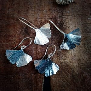 Sterling ginkgo leaves.  All carefully etched an curved like leaves in the wind