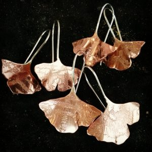 Etched copper ginkgo leaves