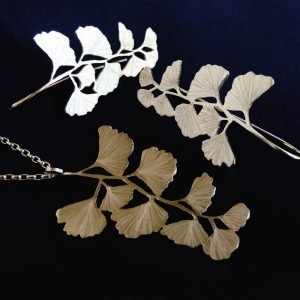 Maidenhair earrings.  Hand cut and etched sterling silver