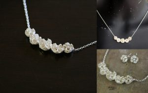 Sweet and pretty, five tea tree pod necklace
