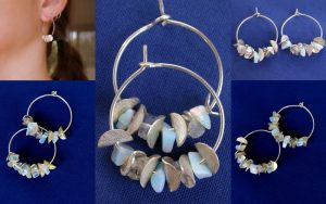 Sparkly silver and moonstone kinetic hoops