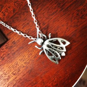 Bee pendant, Sand-cast silver
