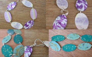 Bracelets in blues and lavenders