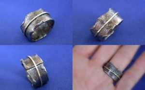 Steel and 9ct Gold Ring