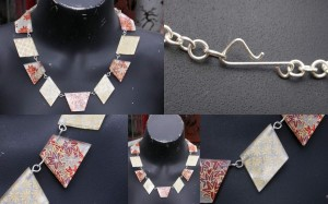 Washi Paper, Acrylic and Sterling Silver Necklace