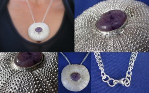 BIG statement necklace!  Cast sea urchin and amethyst pendant.  This one will get you noticed!