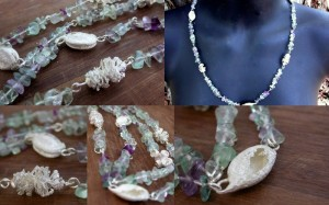 Florite and cast seed pods necklace