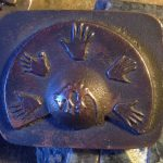 Sand Cast Bronze Thyalcine and Hands Belt Buckle