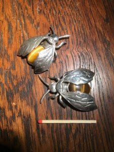 Two sand-cast silver brooches with Tiger-Eye.