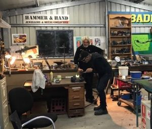 Bruce Pringle and Rich Martin in Briuce's workshop.. Sandcasting