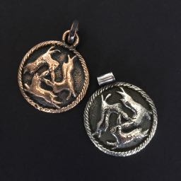 THE THREE HARES Sand cast Custom Bronze or Sterling Silver 38mm diameter