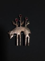 "Sand cast Bronze Brooch with 3 synthetic rubies ""Forrest creature"""