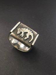 THYLACINE Tassie Tiger, sand-cast and fabricated 925 silver Ring
