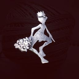 The little King (Special Delivery) Sand-cast silver Brooch